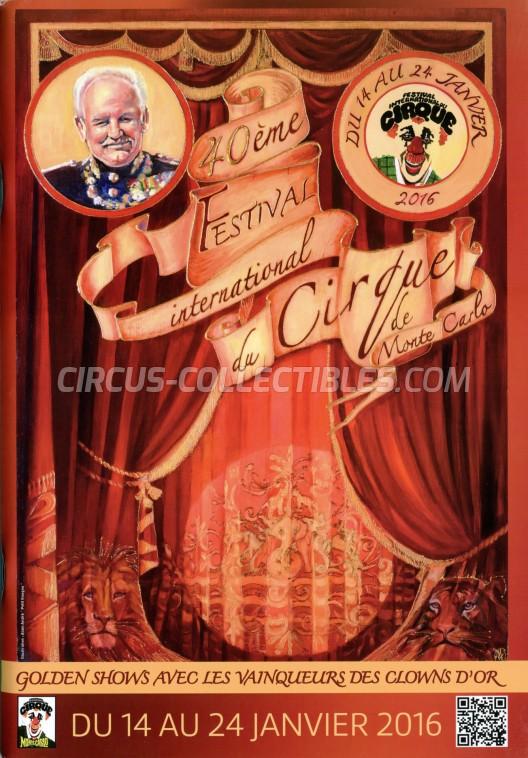 Festival International du Cirque de Monte-Carlo Circus Program - Monaco, 2016