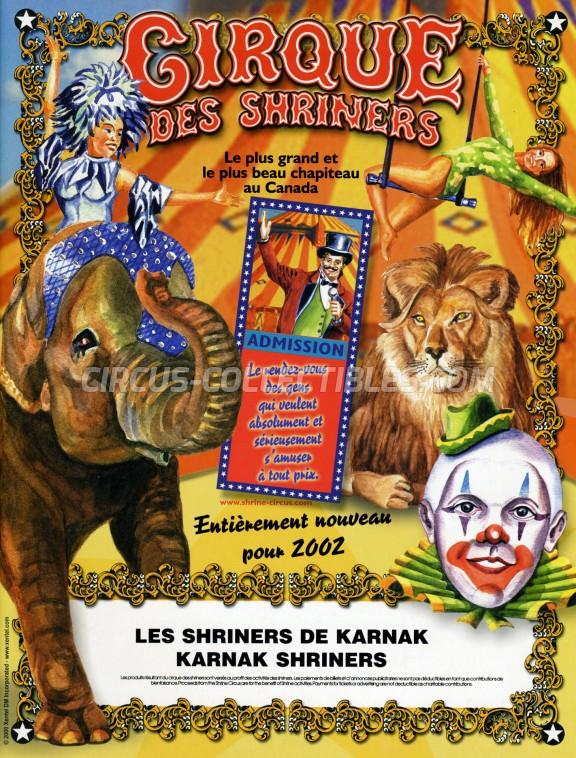 Shrine Circus Circus Program - Canada, 2002