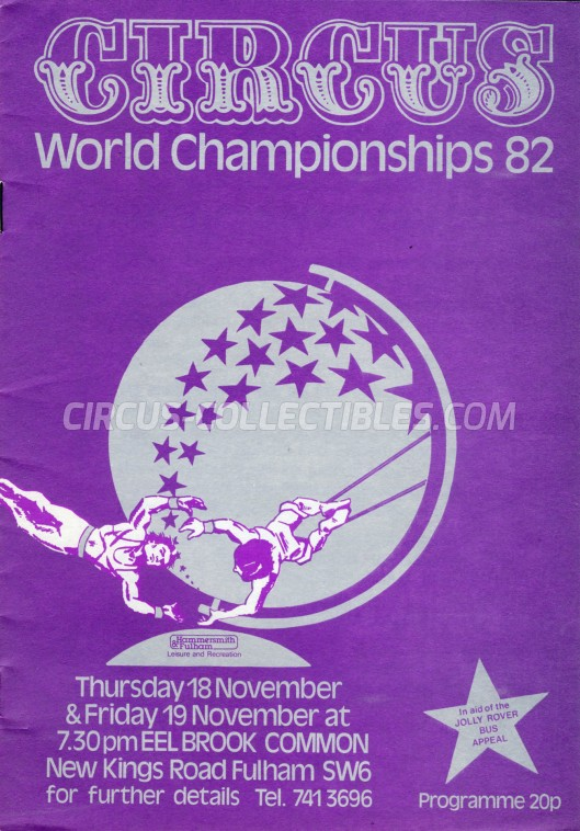 Circus World Championship 82 Circus Program - England, 1982