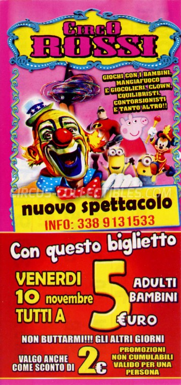 Rossi Circus Ticket/Flyer - Italy 2017