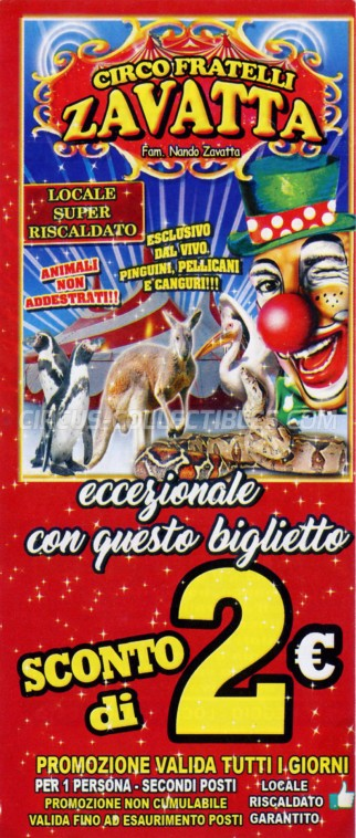 Fratelli Zavatta Circus Ticket/Flyer - Italy 2019