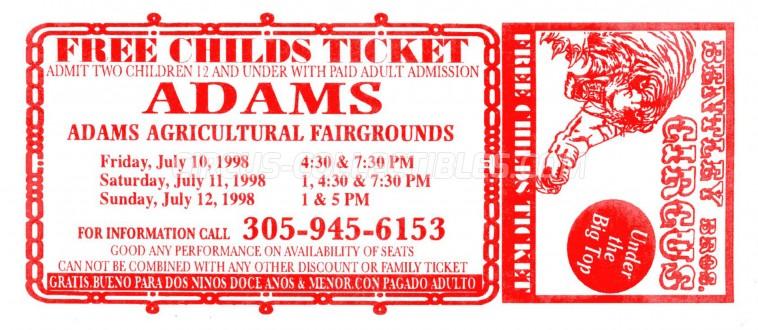 Bentley Bros. Circus Circus Ticket/Flyer - USA 1998