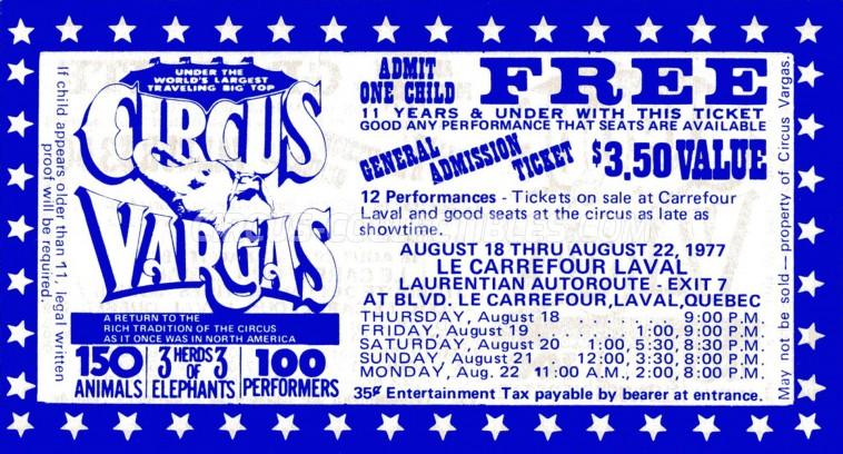 Vargas Circus Ticket/Flyer - Canada 1977