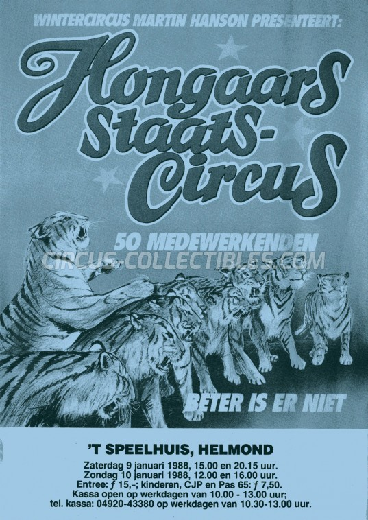 Hongaars Staats-Circus Circus Ticket/Flyer - Netherlands 1988
