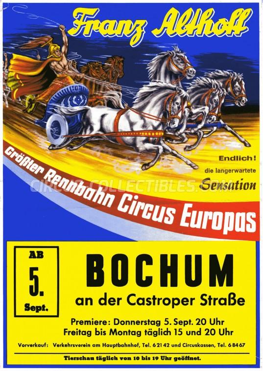 Franz Althoff Circus Ticket/Flyer - Germany 1963