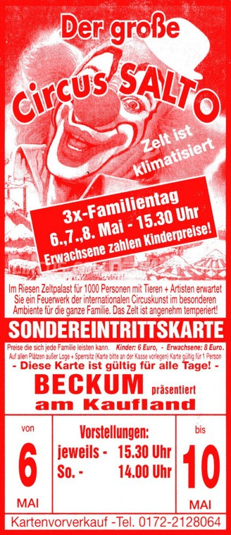 Salto Circus Ticket/Flyer - Germany 0