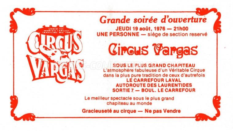 Vargas Circus Ticket/Flyer - Canada 1976