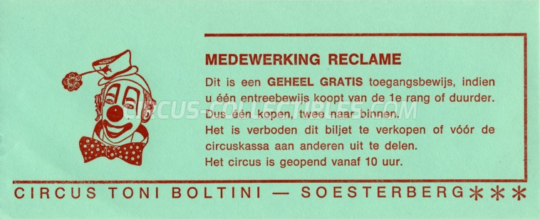Toni Boltini Circus Ticket/Flyer - Netherlands 0