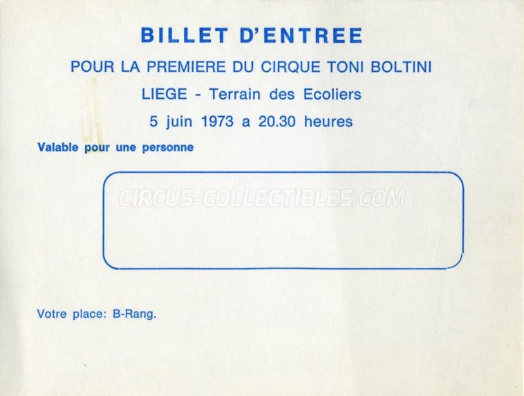 Toni Boltini Circus Ticket/Flyer - Belgium 1973