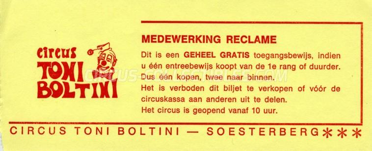 Toni Boltini Circus Ticket/Flyer - Netherlands 0