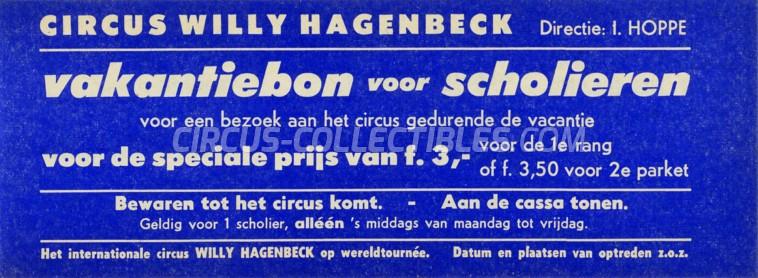Willy Hagenbeck Circus Ticket/Flyer - Netherlands 1967