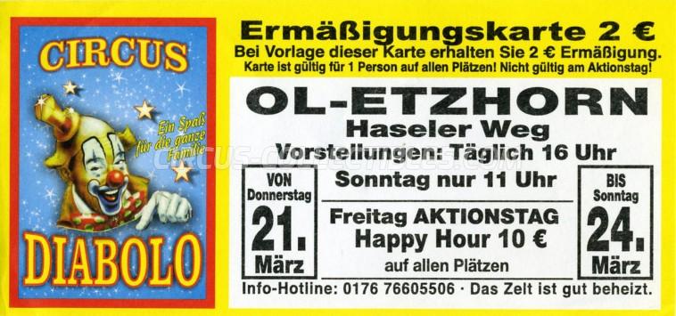 Diabolo Circus Ticket/Flyer - Germany 2019