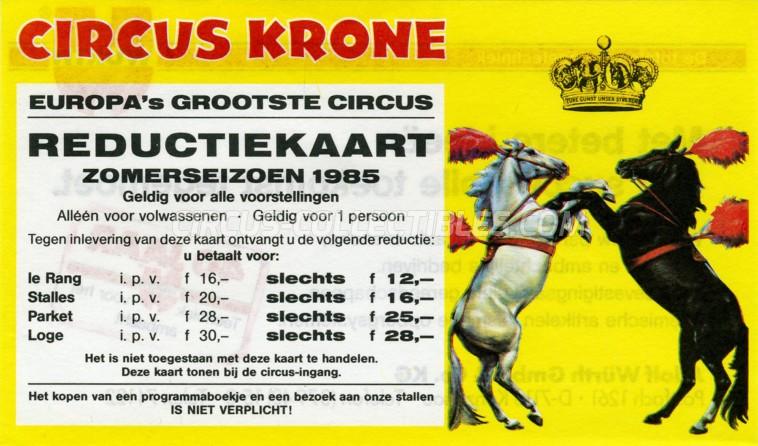 Krone Circus Ticket/Flyer - Netherlands 1985