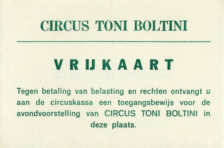 Toni Boltini Circus Ticket/Flyer -  0