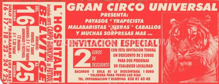 Gran Circo Universal Circus Ticket/Flyer - Spain 0
