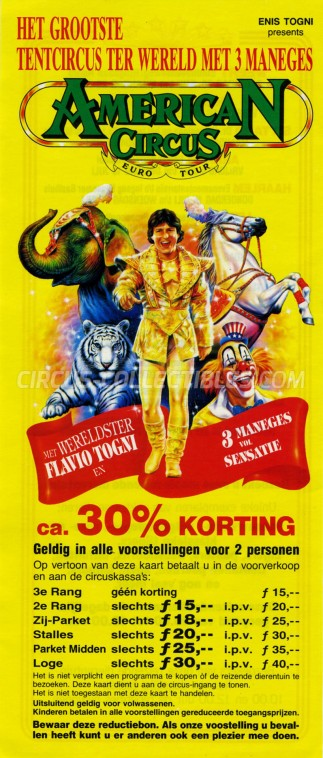 American Circus Circus Ticket/Flyer - Netherlands 1993