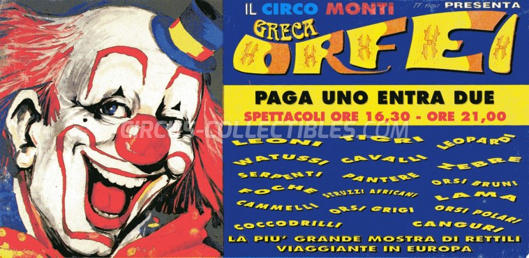 Greca Orfei Circus Ticket/Flyer -  0