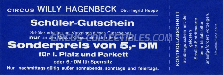 Willy Hagenbeck Circus Ticket/Flyer -  1967