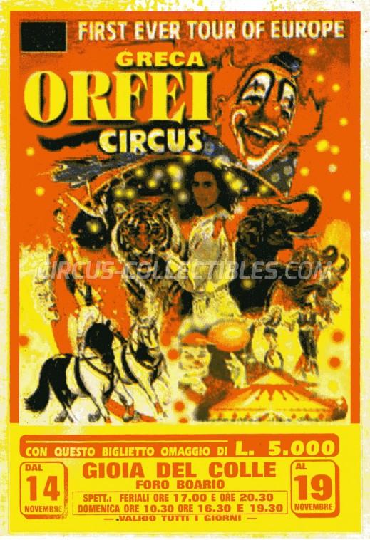 Greca Orfei Circus Ticket/Flyer - Italy 0