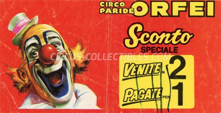 Paride Orfei Circus Ticket/Flyer -  0