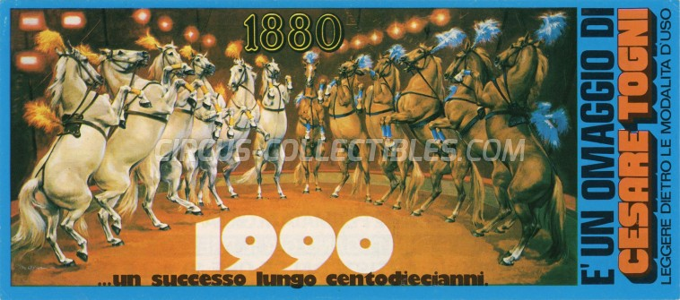 Cesare Togni Circus Ticket/Flyer - Italy 1991