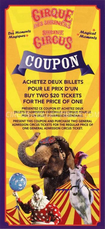 Shrine Circus Circus Ticket/Flyer - Canada 2012