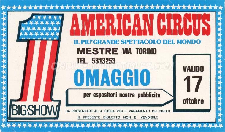 American Circus Circus Ticket/Flyer - Italy 1989