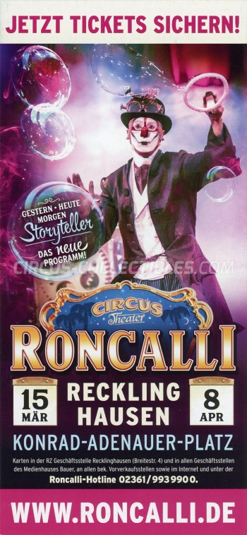 Roncalli Circus Ticket/Flyer - Germany 2018