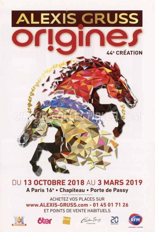 Alexis Gruss Circus Ticket/Flyer - France 2018