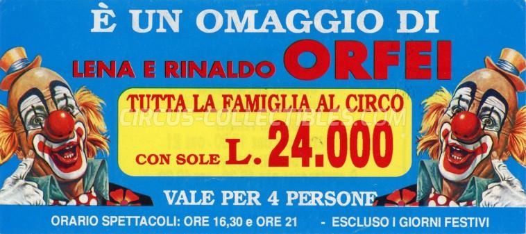 Lena e Rinaldo Orfei Circus Ticket/Flyer - Italy 0