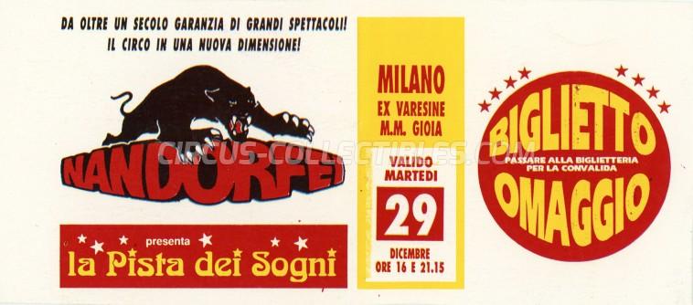 Nando Orfei Circus Ticket/Flyer - Italy 1992