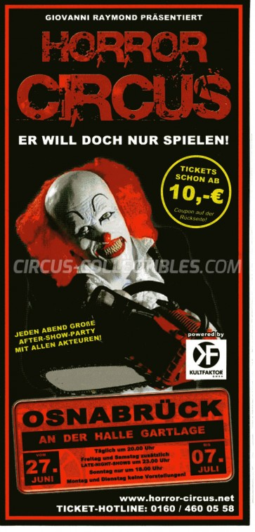 Horror Circus Circus Ticket/Flyer - Germany 2014