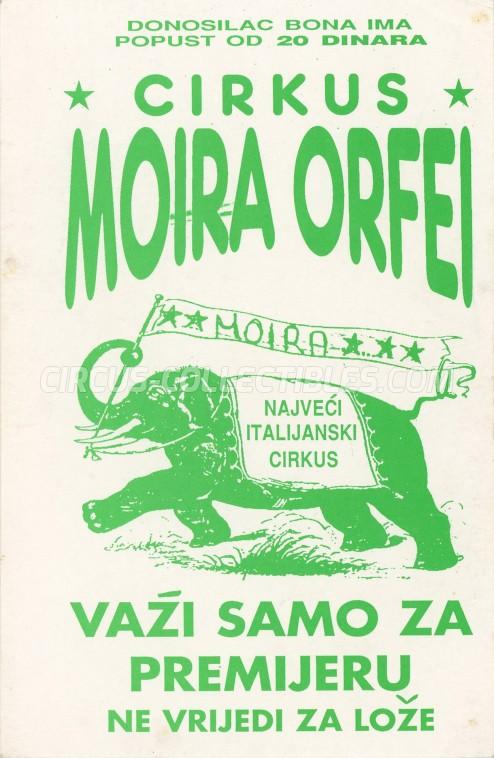 Moira Orfei Circus Ticket/Flyer - Croatia 1991
