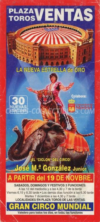 Mundial Circus Ticket/Flyer - Spain 1993