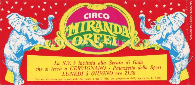Miranda Orfei Circus Ticket/Flyer - Italy 1987