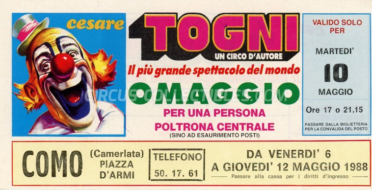 Cesare Togni Circus Ticket/Flyer - Italy 1988
