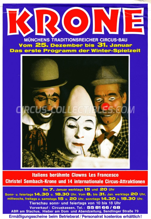 Krone Circus Ticket/Flyer - Germany 1981