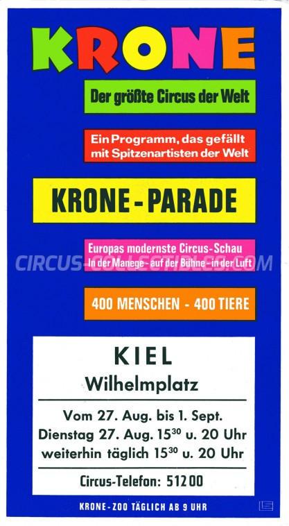 Krone Circus Ticket/Flyer - Germany 1974