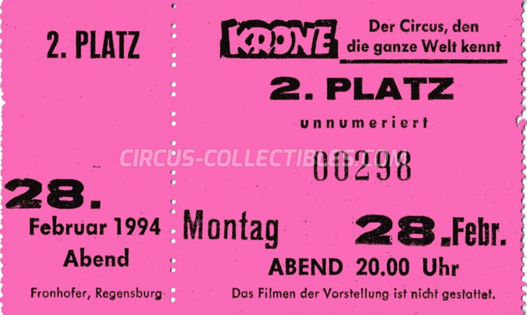 Krone Circus Ticket/Flyer -  1994
