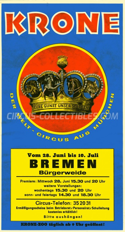 Krone Circus Ticket/Flyer - Germany 1978