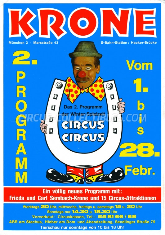 Krone Circus Ticket/Flyer - Germany 1982