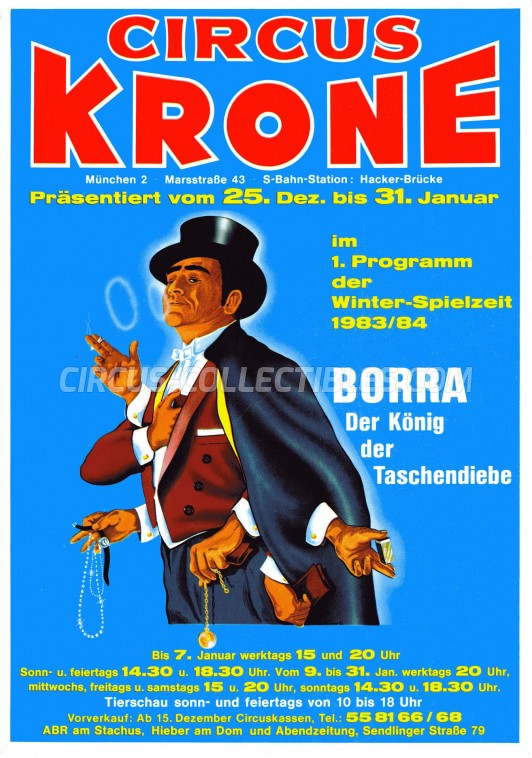 Krone Circus Ticket/Flyer - Germany 1983