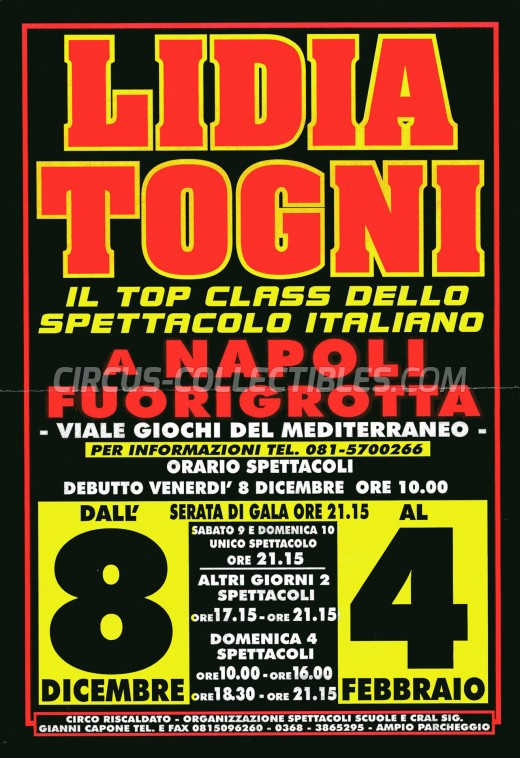 Lidia Togni Circus Ticket/Flyer - Italy 2000