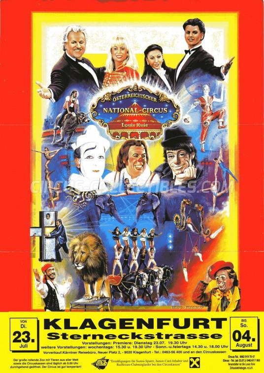 Louis Knie Circus Ticket/Flyer - Austria 1996
