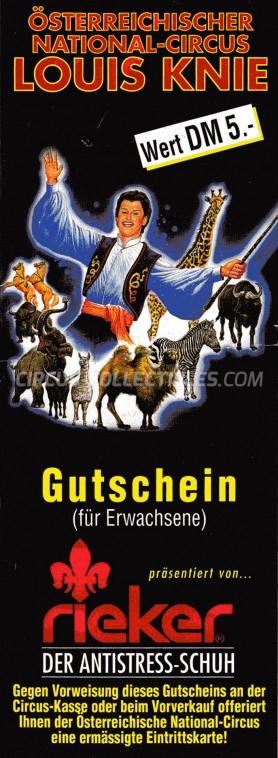 Österreichischer National-Circus Louis Knie Circus Ticket/Flyer -  1999