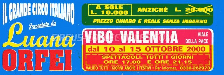 Luana Orfei Circus Ticket/Flyer - Italy 2000