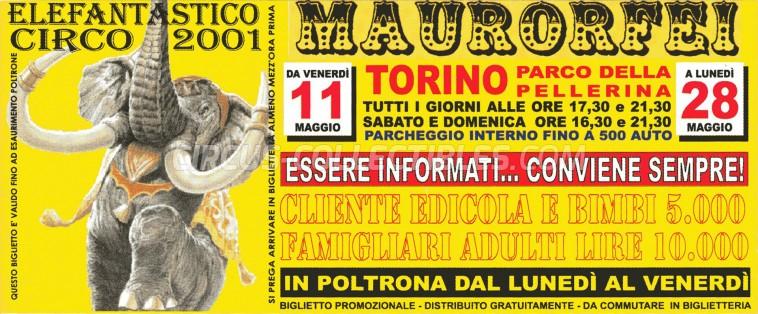 Mauro Orfei Circus Ticket/Flyer - Italy 2001