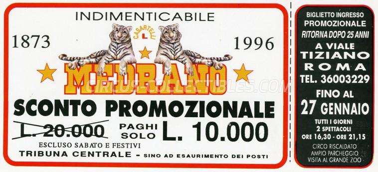 Medrano (Casartelli) Circus Ticket/Flyer - Italy 1996