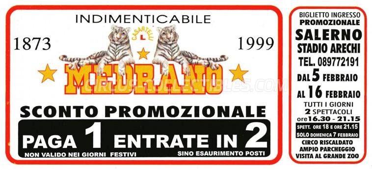Medrano (Casartelli) Circus Ticket/Flyer - Italy 1999