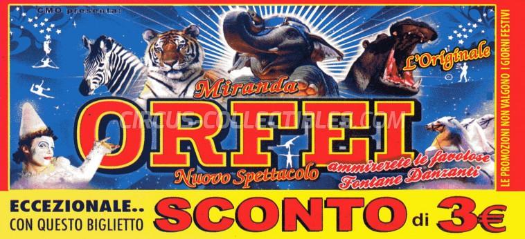 Miranda Orfei Circus Ticket/Flyer -  0